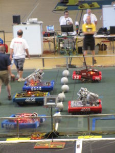 DNA Team 4009 and DNA Too Team 8009 going head to head in a qualification match.
